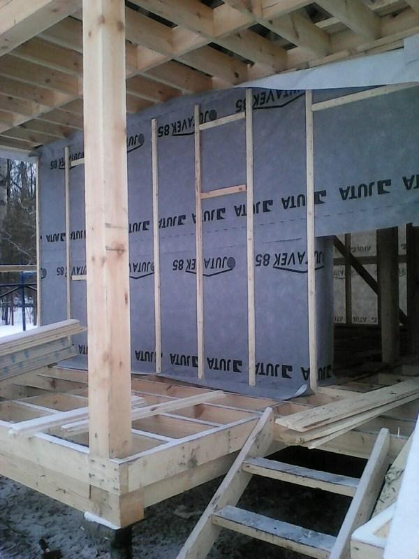 Каркасная баня 6х8: Ветроизоляция стен