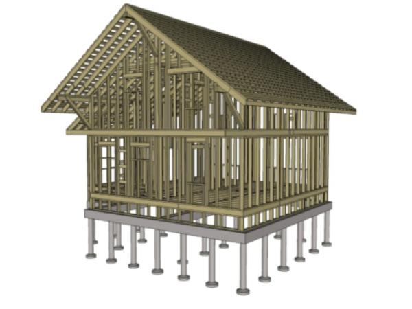 Проект каркасного дома 9.5х9
