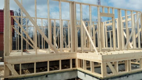 Каркасный дом 9,5х9: цокольный этаж, перекрытие и стены первого этажа